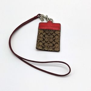 Coach wallet ID lanyard red brown signature